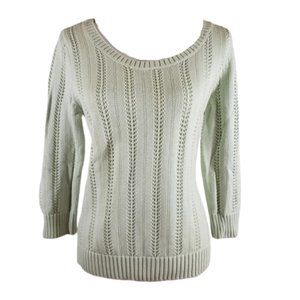 Ann Taylor Cotton Mint Green Sweater, Size Large